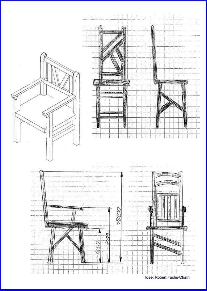 Stuhl technische zeichnung  Möbelbau Stuhl